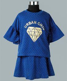 WhiteHenz ClothingPolka Dot Urban Chic Skirt & Top Set - Navy Blue