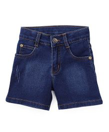 Babyhug Washed Denim Shorts - Dark Blue