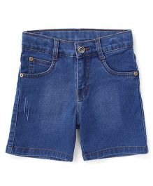 Babyhug Washed Denim Shorts - Medium Blue