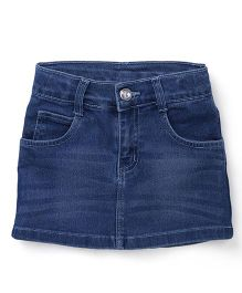 Babyhug Denim Skirt With Pockets - Medium Blue
