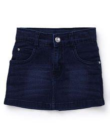 Babyhug Denim Skirt With Pockets - Dark Blue