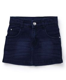 Babyhug Denim Skirt With Pockets - Dark Blue