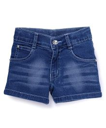 Babyhug Denim Shorts With Wiskers - Medium Blue