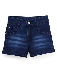Babyhug Denim Shorts With Wiskers - Dark Blue