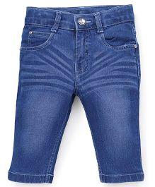 Babyhug Denim Capri With Five Pockets - Medium Blue