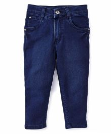 Babyhug Full Length Jeans With Five Pockets - Dark Blue