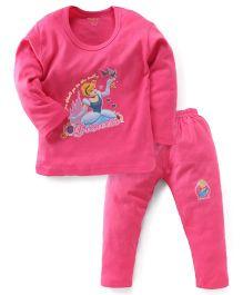 Bodycare Full Sleeves Top & Legging Disney Princess Print - Pink