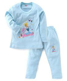 Bodycare Full Sleeves Top & Legging Disney Princess Print - Sky Blue