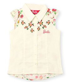Barbie Ruffle Cap Sleeves Shirt Floral Embroidery - Off White