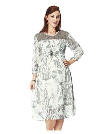 Nine Maternity Three Fourth Sleeves Printed Dress - Grey
