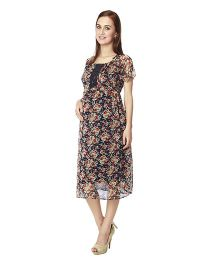 Nine Short Sleeves Maternity Dress - Multicolour