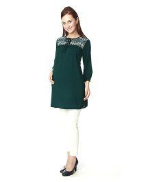Nine Full Sleeves Maternity Tunic - Green