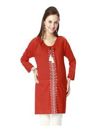 Nine Full Sleeves Maternity Tunic - Red