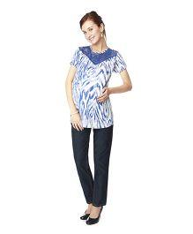 Nine Short Sleeves Maternity Printed Top - Blue