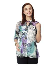 Nine Three Fourth Maternity Top - Multicolour