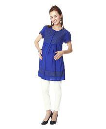 Nine Short Sleeves Maternity Tunic - Blue