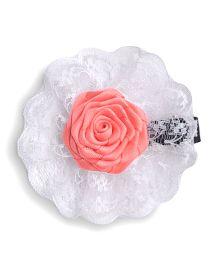 Little Miss Cuttie Adorable Rose Applque Hair Clip - Coral