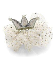 Little Miss Cuttie Glittery Crown Hair Clip - Silver