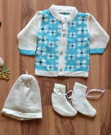 Blossoms From KnittingNani Sweater Set With Flower Applique - Turquoise