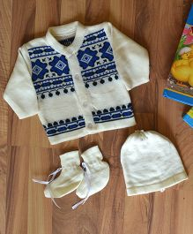 Blossoms From KnittingNani Printed Warm & Cozy Sweater Set - Off White
