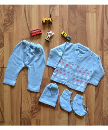 Blossoms From KnittingNani Sweater & Leegings Set With Elephant Design - Blue