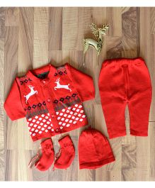 Blossoms From KnittingNani Sweater & Legging Set With Reindeer Design - Red