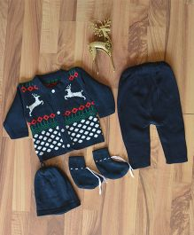 Blossoms From KnittingNani Sweater & Legging Set With Reindeer Design - Blue