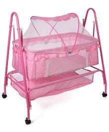Mee Mee Cradle With Mosquito Net Heart Print MM 709B - Pink