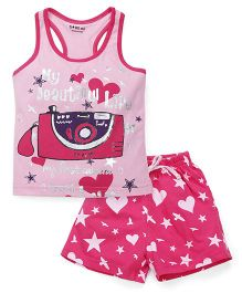 Doreme Sleeveless Top And Shorts Camera Print - Pink