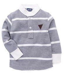 Play by Little Kangaroos Full Sleeves Sweatshirt Stripes Pattern - Grey