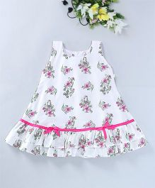 Mom's Girl Floral Dress With Pleats At The Bottom - White