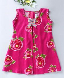 Mom's Girl Floral Dress With A Bow - Pink