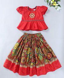 Mom's Girl Floral Lehenga With Peplum Blouse Set - Red