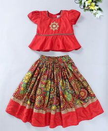Mom's Girl Floral Lehenga With Peplum Blouse Set - Red