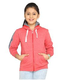 Imagica Girl's Full Sleeve Hoodie Red Melange 4 4 - 5 Years Blended