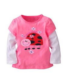 Teddy Guppies Doctor Sleeves Top Lady Bug Print - Pink White