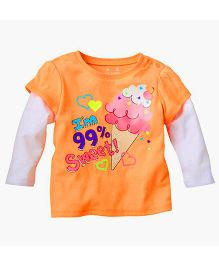Teddy Guppies Doctor Sleeves Top I'm Sweet Print - Orange White