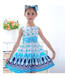 Teddy Guppies Sleeveless Frock Bow Applique - White Blue