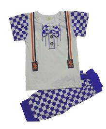 Teddy Guppies Half Sleeves T-Shirt And Bottoms - Off White Blue