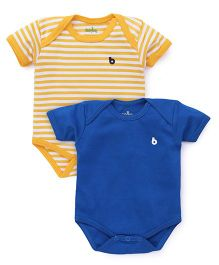 Babyhug Half Sleeves Onesies Solid Color And Striped - Royal Blue & Yellow