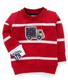 Play By Little Kangaroos Full Sleeves T-Shirt Plane Design - Red