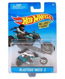 Hot Wheels Bike Blastous Moto 2 With Rider - White Black