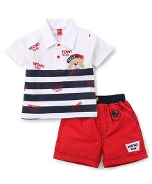 Wow Clothes T-Shirt And Shorts Set Bear Patch - White Blue Red