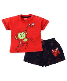 Wow Clothes T-Shirt And Shorts Set Monkey Patch - Red And Navy
