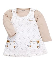 Doreme Frock With Inner Top Polka Dot Print & Kitty Embroidery - White And Beige