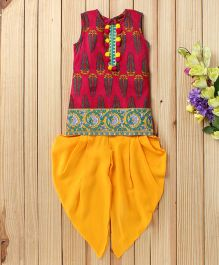 Twisha Printed Kurta With Pom Pom & Dhoti - Dark Pink & Yellow