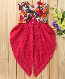 Twisha Fusion Occasion Wear Jumper With Floral Printed Shrug - Fuschia