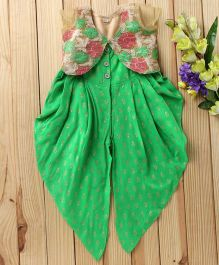 Twisha Fusion Occasion Wear Jumper With Straps & Embroidered Jacket - Green