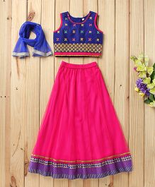 Twisha Traditional Embroidered Blouse With Net Lehanga & Dupatta - Hot Pink