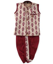 Kids Kcare Sleeveless Paisley Print Kurta And Dhoti Set-Red